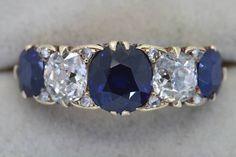 Victorian sapphire and diamond five stone ring natural unheated sapphires #victorian #bling #fivestone #sapphirering #noheat #antiquesireland #antiquejewellery #vintage #ring #rotd #diamondring #showmeyourrings #diamondsareagirlsbestfriend via: #probeatz