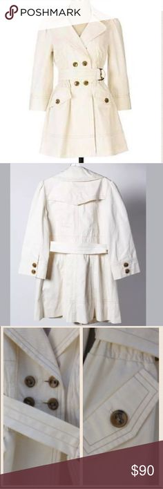 """☃️ANTHROPOLOGIE ELEVENSES WELLINGTON TRENCH COAT☃️ ❄️☃️THIS PRE-LOVED ANTHROPOLOGIE ELEVENSES DOUBLE BUTTON, WELLINGTON BELTED TRENCH COAT is in EXCELLENT•<3 CONDITION •<3•SOLD OUT IN STORES •<3 Elevenses gives a chic update to this classic canvas coat, styled with smocking at waist & cropped 3/4 length sleeves. Removable self-belt, Button Front Pockets. Cotton; cotton lining, Dry clean. Measurements taken laying flat & un-stretched: EUC Size: 6 Shoulder to Shoulder: 14"""" Armpit to…"""