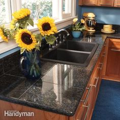 Get the look of granite countertops in your kitchen without the expense, weight and difficulty of solid slabs with DIY-friendly polished granite tiles. Like regular tile, they're cut to fit and installed with standard tools and mortar.