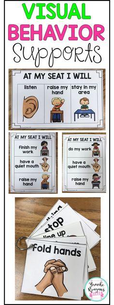Visual Behavior Supports: Visuals for Behavior Expectations - Autism Education Classroom Behavior Plans, Kindergarten Behavior, Student Behavior, Behavior Log, Kids Behavior, Autism Education, Special Education Classroom, Physical Education, Behaviour Management