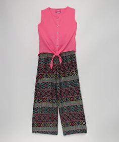 Neon Pink Tie Tank & Stripe Pants - Toddler & Girls
