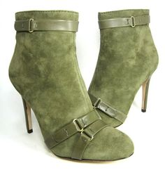"CHARLES DAVID  ""KAITLYN"" ANKLE BOOTIE GREEN SUEDE ~ Pretty and I love the styling"