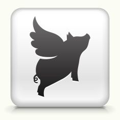 Square Button with Flying Pig royalty free vector art vector art illustration