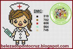 Priscila Junqueira Ponto Cruz: Profissões Cross Stitch Boards, Mini Cross Stitch, Beaded Cross Stitch, Crochet Cross, Cross Stitch Embroidery, Hama Beads Patterns, Beading Patterns, Cross Stitch Designs, Cross Stitch Patterns