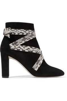 Jimmy Choo - Heat Suede And Elaphe Ankle Boots - Black - IT