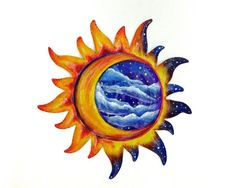 Sun and Moon Wall Art | Sun and moon painted wall decoration patio decor by ... | Love Love ...