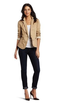 Khaki blazer & jeans... or with a black T