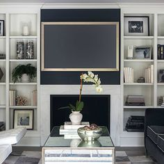 Custom wall unit with rock wall mahogany removable shelves compartments led lighting gas - Lavish white and grey kitchen for hygienic and bright view ...