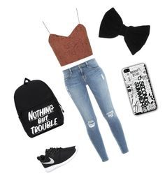 """"" by popcorn22 ❤ liked on Polyvore featuring Topshop, Frame Denim, NIKE and claire's"