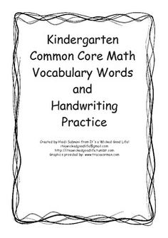 This activity was designed to help students practice spelling of Common Core math vocabulary words and handwriting.  I am currently working as a ma...
