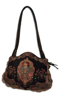 Black Leather Handle Bag by Michal Negrin with Roses Printed Velvet Design, Embroidery Lace and Beaded Strips, Swarovski Crystals and Glitter
