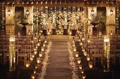 Beautiful candle lit wedding ceremony with tulle, ribbons and flower petals. Wedding Aisles, Wedding Ceremony Ideas, Mod Wedding, Wedding Night, Wedding Ceremonies, Trendy Wedding, Church Wedding, Reception Ideas, Fall Wedding