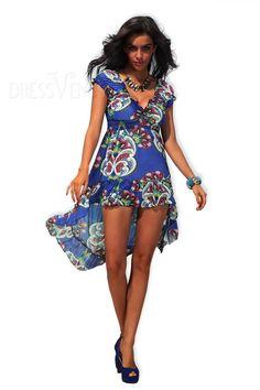 Summer V-neck Print Cap Sleeve High-Low Long Day Dress , Print