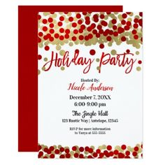 Christmas Red & Gold Dots Modern Holiday Party Card - elegant gifts gift ideas custom presents