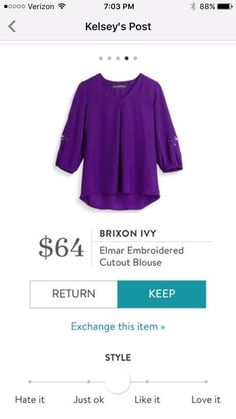 Love love love this color! This shirt is my preferred style - jewel tones, 3/4 sleeve, and feminine but still polished.
