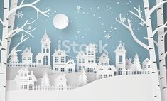 Snow Urban Countryside Village with Full Moon New Stock Photo . Winter Snow Urban Countryside Village with Full Moon New Stock Photo . Winter Snow Urban Countryside Village with Full Moon New Stock Photo . Merry Christmas And Happy New Year, Christmas Paper, Christmas Time, Christmas Crafts, Christmas Bags, Silver Christmas, Victorian Christmas, Vintage Christmas, Christmas Ornaments