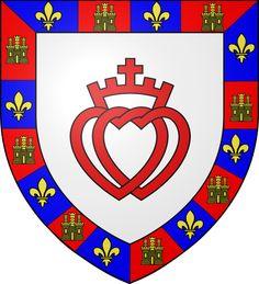 """Le blason de la Vendée. Deux cœurs entrelacés surmontés d'une couronne et d'une croix, avec pour devise """"Utrique fidelis"""" qui signifie """"Fidèle à Dieu, fidèle au Roi""""."""