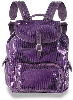 Amazon.com: Glittery Sequined Large Drawstring Backpack Purple: Clothing