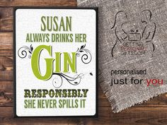 Personalised Metal Wall Plaque, Metal Wall Sign, Retro, Gin, Funny Kitchen Sign