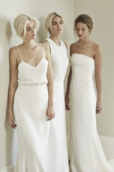 Bridal party // Mildred&Co Minimal Wedding Dress, Minimalist Wedding Dresses, Best Wedding Guest Dresses, Wedding Dresses Photos, Wedding Bridesmaids, Bridesmaid Dresses, Simple Gowns, Fancy Gowns, Pretty Dresses