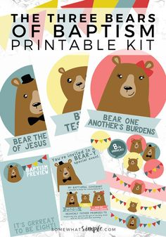 Three Bears of Baptism Printables Kit - These darling Three Bears of Baptism Printables are sure to make your baptism preview night a huge success!