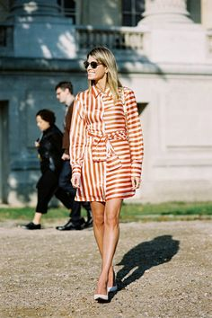 Helena, note the opposing stripe direction on either halves of this shirt dress