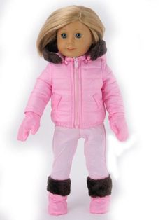 18 Inch Doll Pink 4pc Snow Suit