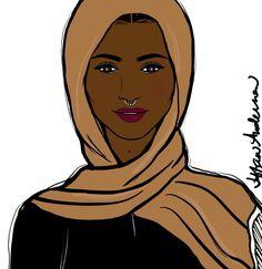 Head Wrap #illustration #fashionillustration #naturalhair #teamnatural #blackwomen #blackgirls #hijab #sketch #melanin #queen #drawing #cartoon #digitalart #instaart #septumpiercing #beauty #headwrap