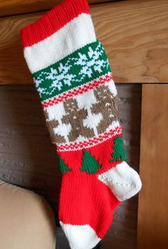 Personalized Christmas Stocking Knitted With by GrandmaJansCorner