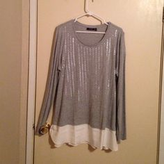 Grey & white long sleeve top Lightweight grey & white long sleeve top.  Sheer white underhang and silver bling design on the front.  NWT Apt. 9 Tops