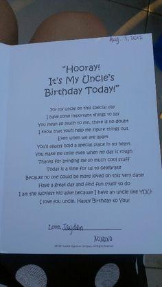 Happy birthday uncle poem from baby nephew