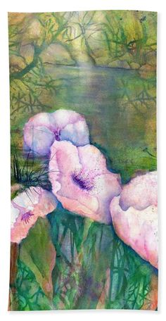 Poppy Flowers Bath Towel featuring the painting White Poppy Flowers at the Pond by Sabina Von Arx Green Bathroom Decor, Creative Colour, Painting Techniques, Bath Towels, Fine Art America, Colorful Backgrounds, Poppies, Watercolor Paintings, Poppy Flowers