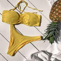 New yellow strapless bikini 💛 Bikinis, Swimwear, Thong Bikini, Yellow, Fashion, Bathing Suits, Moda, Swimsuits, Fashion Styles