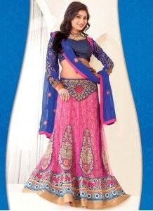 An eye-catching Resham Work Hot Pink Color Net Lehenga Choli http://www.wholesalesalwar.com/
