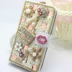 Pearl diamonds crystal PU leather wallet flip cover case skin for HTC Desire 816