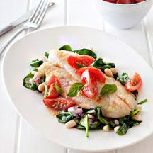 Pan-fried fish with fresh tomato sauce - 7 points