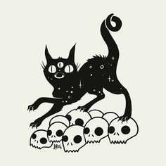 Cat On Skulls, Matte Art Print Poster #artprint #artwork #poster #prints #cat #darkart #art Witch Art, Canvas Prints, Art Prints, Colour Images, Sell Your Art, Skulls, Giclee Print, Vibrant Colors, Print Design