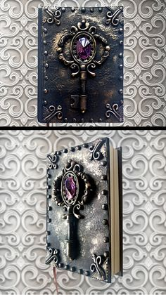 Black handmade notebook Polymer clay journal by HandMadeMagicArt
