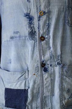 VTG 1930s 30s French Indigo Linen Work Chore Jacket Workwear Patched Sun Faded | eBay