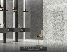 Marvel Gems Terrazzo porcelain tiles inspired by Venetian Terrazzo for modern architecture. Marvel Gems, Spa Center, Centre, Terrazzo Tile, Tile Showroom, Toilet Design, Painting Wallpaper, Color Tile, Carrara