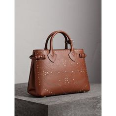 The Medium Banner in Riveted Leather in Tan - Women   Burberry United Kingdom