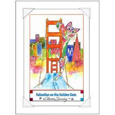 Sebastian on the Golden Gate Bridge Cat Art Poster by Claudia Sanchez Golden Gate, Cat Art, Original Artwork, Bridge, Cats, Prints, Poster, Image, Things To Sell