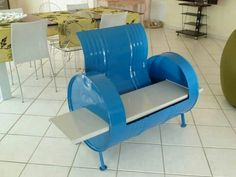 Superbe 50 Gallon Drum To Chair U003d Clever! Barrel Chair, Barrel Furniture, Metal  Furniture