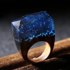 Magic Snow Covered Resin Wooden Ring