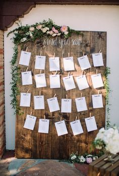 Miscellaneavintagerentals.com Wedding seating chart ideas. Large farm wood find your seat for Muckenthaler Mansion venue