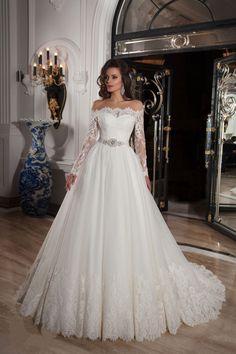 Wishesbridal Long Sleeve Off The Shoulder Court Train Tulle #BallGown #WeddingDress Acd0021