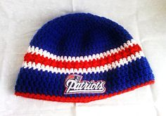 876ca4805cff7 Crochet New England Patriots inspired beanie great gift fir any patriots  fan by Countrycutecrochet