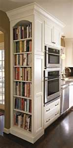 shelves for cook books, great use of space. (wonder if that would be enough cookbook space???!!)