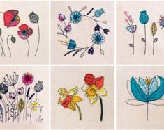 SALE Botanical Artist's Cards pack of 6. Wildflowers, poppies, daffodils, seed heads, flowers, floral. Printed from embroidered originals