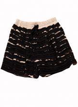 Black Elastic Waist Multilayer Striped Short $40